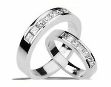 0.85CT Princess Diamond Engagement Ring His or Hers 14K WHITE GOLD PD2653