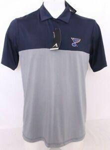 NEW St. Saint Louis Blues NHL Antigua Golf Navy Polo Collared Shirt Men's L
