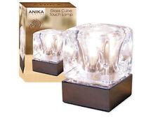 Mozzafiato CHROME & Glass Ice Cube luminoso lampada alogena tabella bedsides TOUCH LUCE
