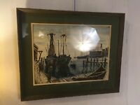 Water Color Vintage Ships In Harbor Signed Ballenger 1973 C9pics4size&MAKE OFFER