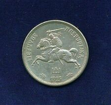 LITHUANIA   1925   5 LITAI  SILVER COIN  XF+, VERY NICE COIN!