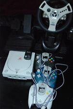 Sega Dreamcast Console Bundle VMU Memory Card 2 Steering Wheel Fighter Stick