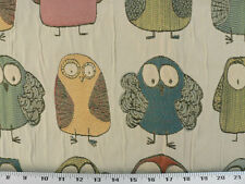 Drapery Upholstery Fabric Adorable Owl Embroidery Crinkled Beige Background