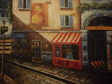 French caffetteria STREET grande dipinto a olio tela Paris France Cityscape ART