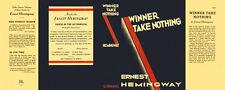 Ernest Hemingway-Facsimile dust jacket for Winner Take Nothing 1st edition