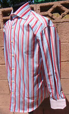 New Tommy Hilfiger Custom Multi Pink/Red/White Striped 2-Cufflink Tailored Shirt