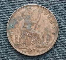 Great Britain 1876 H Heaton Mint  1 Penny One d Victoria  LARGE DATE