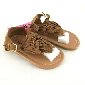 Sara Z Toddler Girls Sandals Boho Fringe Faux Suede Brown Size 7/8