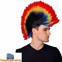 80's Punk Rocker Mohican Wig Adults Mens Ladies Fancy Dress Costume Accessory