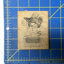Acey Deucy rubber stamp Spring K2-836 Collage art stamps letter butterfly face