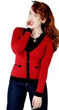 Collectif Emily Polka Dot Cardigan in Red Black XS 8 BNWT 50s pinup girl