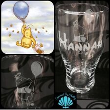 Personalised Winnie The Pooh Bear Pint Beer Glass Hand Engraved Gift For Him Her