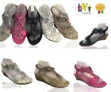 Uk Womens Ladies Low Wedge Heel Diamante Sandals Flowers Summer Slingback Size