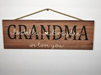 "Personalized Grandma Rustic Wood Sign, Mothers Day, P141, Gift, Birthday, 6""x18"""