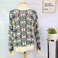Jantzen Vintage 90s Mens Sweater Multicolor Knit Crew Neck Size L Made in USA