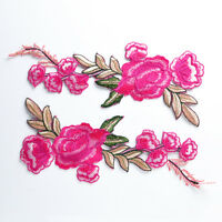 1 Pair Embroidered Iron/Sew on Applique Patch Badge Rose Flower Dress DIY Craft