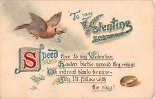 1907 Valentine Postcard with Dove, Gold Ring, Forget-Me-Nots, & Love Poem