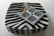 222 FIFTH ZEBRA STRIPES APPETIZER PLATES - BLACK & WHITE - SET OF 4