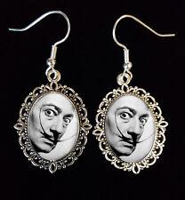 Salvador Dali Moustache Antique Silver Drop Earrings Goth Surrealist Artist