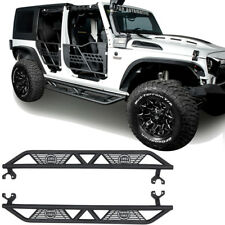 Pair Black Nerf Bar Side Step Armor Running Board for 07-18 Jeep Wrangler JK 4Dr