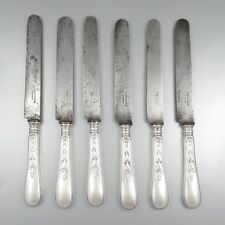 """Antique French Silver Plate Christofle Dinner Knives, """"Canaux Laurier"""", 6 pcs"""