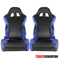 Black/Blue Left+Right Fully Reclinable PVC Leather Sports Racing Seats W/Sliders