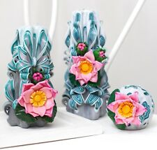 Carved candles handmade with Lotuses - decorative candle set - blue candles