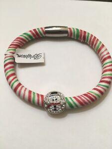 NEW Brighton WOODSTOCK CANDY STRIPES Leather Bracelet W/ Snowman Bling Bead