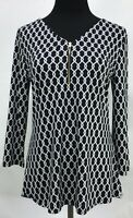 41 Hawthorn Stitch Fix 3/4 Sleeve Black White Chain Blouse Top 1/4 Zip Small
