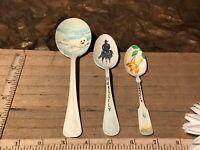 3 Vintage Spoons, Arts Hand Painted Valerie Dahl, Seal, Cowboy & Horse Floral