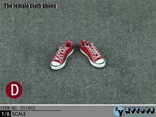"Red Cloth Shoes 1/6 Scale For 12"" Female Feet Sneakers ZYTOYS ZY1002D"