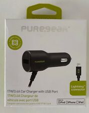 CAR CHARGER WITH LIGHTNING CONNECTOR AND USB PORT - 17W  iPhone, iPad, iPod.