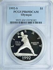 1992-S XXV OLYMPICS BASEBALL NOLAN RYAN SILVER PROOF S$1 PCGS PR69DCAM