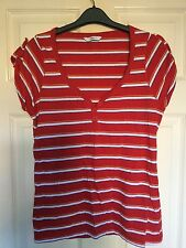 Ladies Red and Coloured Striped V-Neck Top Size 14 New Look New