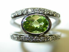 PERIDOT AND DIAMOND RING 2.21CT PERIDOT 14K NATURAL