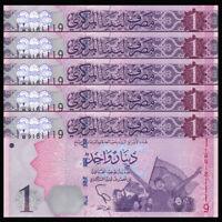 Lot 5 PCS, Libya, Lybien, 1 Dinar, 2013, P-76, Banknote, UNC