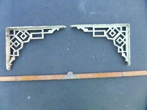 2 VINTAGE ANTIQUE OLD CAST IRON SHELF BRACKETS