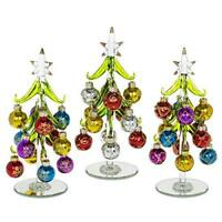 Beautiful, medium sized, glass Christmas Tree, decorated with coloured, glittere