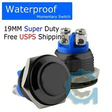 19mm Black Water Proof Starter Switch Boat Horn Momentary Button Stainless Steel