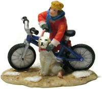 Lemax Christmas Village Teen Boy Bicycle Dog Snow Patches on Ground