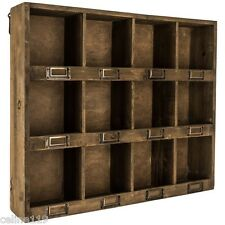 Antique Brown Wooden Wall Shelf with 12-Slots   RUSTIC VINTAGE HOME DECOR NEW!!