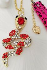 Betsey Johnson Necklace  SNAKE RED CrystaL GOLD