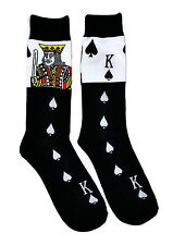 Mens Fun Crew Socks King of Spades 1 Pair Poker Cards Game Themed Patterned