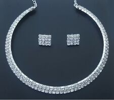 Crystal 2 Row Simulated Diamante Rhinestone Chocker Necklace Choker + Earrings