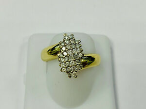 Ring, 585 Gold, with Small Diamonds, 5,25g, Ring Size 58 (45477)