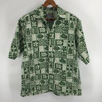 Reyn Spooner Joe Kealoha's Hawaiian Floral Shirt Green Button Front Size Small
