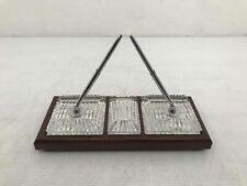 Vintage Cut Glass Pen Holder Office Desk Set Mirrored Wooden Base Decorative