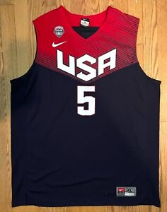 Men's 2014 Kevin Durant USA FIBA World Cup Basketball Jersey XL Red White Blue