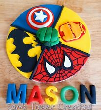 Edible Fondant Avengers/DC 8 Inch Cake  Topper  with Hulk Fist Centre! + Name!