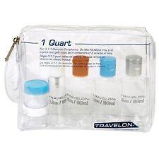 Travelon 1 Quart Zip Bag Clear 5 Bottle Toiletry Kit Carry On Travel TSA Approve